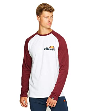 65985ca1e1 ellesse Mens Thero T-Shirt in White and Burgundy: Amazon.co.uk: Clothing