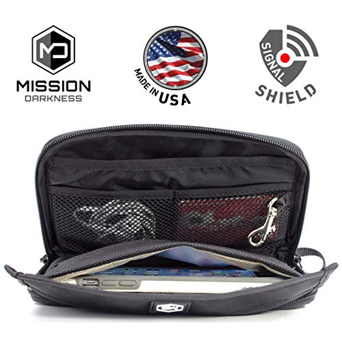 Mission Darkness Mojave Faraday Phone Bag/Multi-Functional Travel case with Accessory Pockets and Built-in Faraday Sleeve/Signal-Blocking, Anti-Tracking, Anti-Hacking, Anti-Spying Faraday cage
