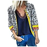 Midress Women's Fashion Autumn Coats 3/4 Sleeve Printed Jacket Vintage Casual Outwears Open Front Cardigan Tops Jackets