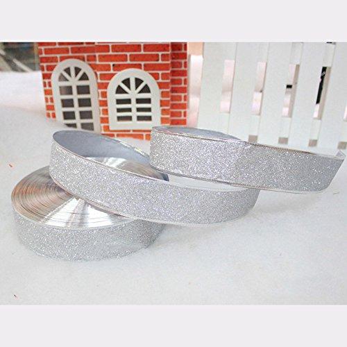 Wimagic decoraci/ón de Fiestas 5cm*2m Bodas Cintas Decorativas para Manualidades 1 Cinta de Purpurina con Borde de Alambre Azul Lazos para Envolver