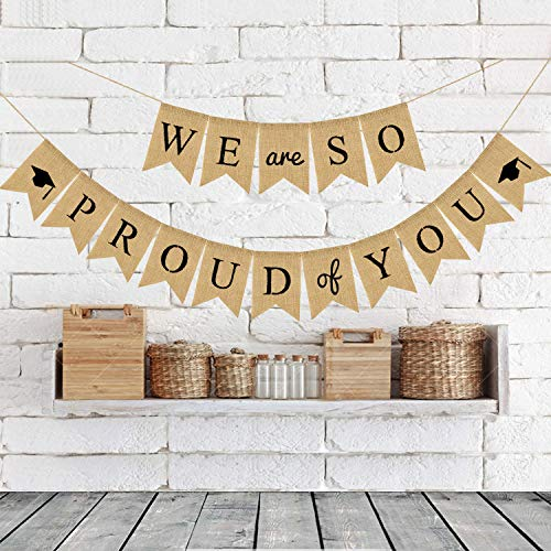 Rainlemon Jute Burlap We are So Proud of You Banner 2019 Graduation Party Decoration Photo Booth -