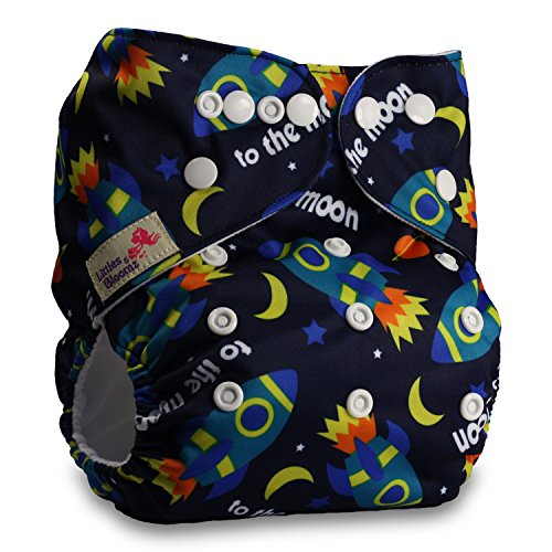 Reusable Pocket Cloth Nappy with 1 Bamboo Charcoal Insert Pattern 75 Set of 1 Fastener: Popper Littles /& Bloomz