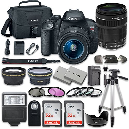 Canon EOS Rebel T5i 18.0 MP CMOS Digital Camera HD Video with Canon EF-S 18-135mm f/3.5-5.6 IS STM Lens + 2pc SanDisk 32GB Memory Cards + Accessory Kit from Canon
