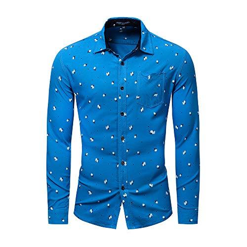 CHENSF Fashion Big Plaid Shirt Slim Men's Corduroy Long-Sleeved Shirt(Blue,XX-Large)