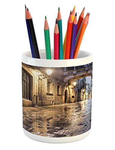 Lunarable City Pencil Pen Holder, Narrow Street Gothic Design Architecture Carrer del Bisbe Barcelona Spain Europe, Printed Ceramic Pencil Pen Holder for Desk Office Accessory, Tan Pale Brown by Lunarable