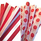 Red & White Printed Tissue Paper Bundle for Gift Wrapping, 24 Sheets, Red Stripe/Polka Dot
