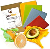 Beeswax Wrap Reusable Food Storage - PataBee Handmade in Switzerland Reduce Plastic to Zero Waste, Sustainable & Organic Eco Friendly Set of 4 pcs, Natural Healthy and Biodegradable Wraps