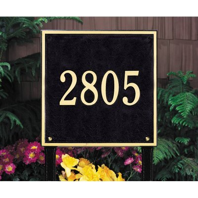 - Whitehall Products Square Estate Lawn 1-Line Address Plaque - Pewter/Silver