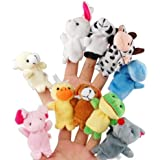 TB3C®10x Velvet Finger Animal Toy Puppet Play Learn Story Party Bag Fillers Farm Zoo Hand puppet doll