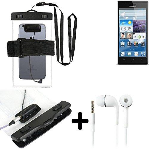 Estuche estanco al agua con entrada de auriculares para Huawei Ascend P2 + auricular incluido, transparente   Trotar bolsa de playa al aire libre caja brazalete del teléfono caso de cáscara bajo playa