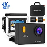 APEMAN 4K WIFI Sports Action Camera Diving 30M Underwater Camera 20MP Waterproof DV Camcorder Ultra 170º Wide Angel Lens 2 Inch LCD Display with 2 Pcs Rechargeable Batteries, Portable Package and Outdoor Accessories Kits