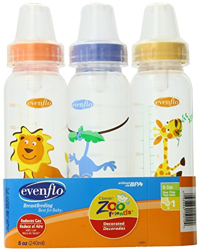 Evenflo Zoo Friends 3 Count Standard Nipple Bottle, 8 Ounce (Colors May Vary) (Baby 8 Oz Plastic Evenflo Bottles)