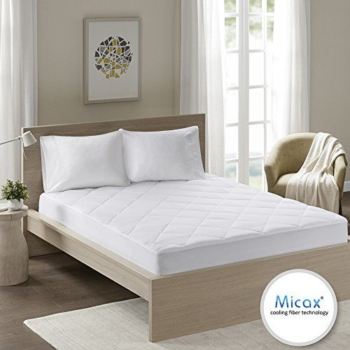Comfort Spaces – MicaX Cooling Fiber Filled Mattress Pad Topper – Moisture Wicking, Temperature Regulating, Ultra Soft, Hypoallergenic – King size – White – Diamond Quilted – Fits Up to 18″ Mattresses