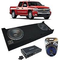 Fits 2007-2013 Chevy Silverado Crew Cab Truck Rockford Prime R1S410 Dual 10 Sub Box Enclosure & R250X1 Amp
