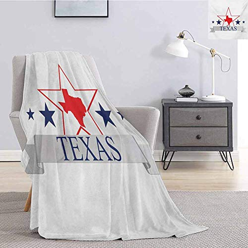 Luoiaax Texas Star Fluffy Blanket Microfiber San Antonio Dallas Houston Austin Map with Stars Pattern USA Queen Size Blanket Soft Warm W57 x L74 Inch Navy Blue Vermilion Pale Grey