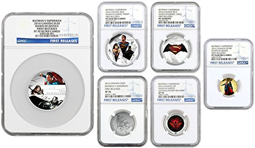 2016 Batman vs Superman: Dawn of Justice Complete 6-Coin Set - NGC PF70 FIRST RELEASES Varies NGC PF70