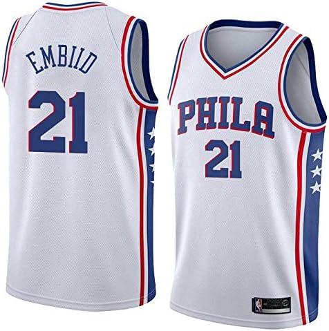 uSport Joel Embiid - Philadelphia 76ers #21 Camiseta de Baloncesto para Hombres, Swingman Unisex Sportswear Sleeveless T-Shirt (Blanco, M): Amazon.es: Deportes y aire libre