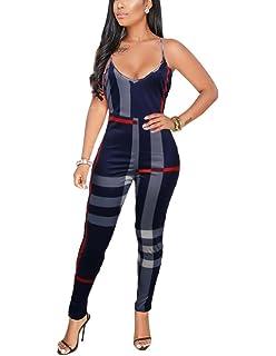 b8ac8171fd7 Amazon.com  Women Spaghetti Strap Bodycon Tank One Piece Jumpsuits ...