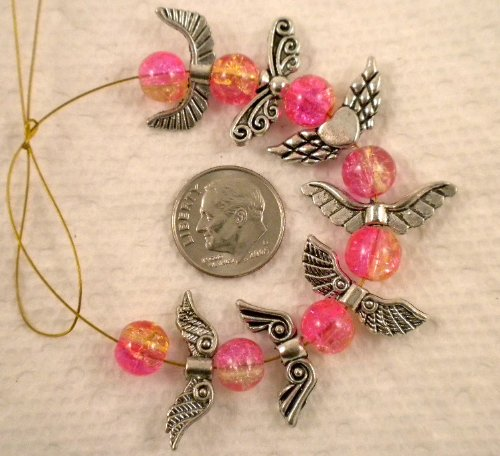 Beads Angels - 70pcs MIX Tibetan Silver Angel Wing Spacer Charm Beads 22mm ~ 7 Designs