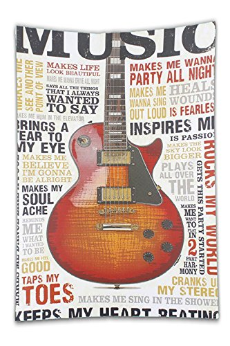 Price comparison product image Beshowereb Fleece Throw Blanket Souvenir Metal Tin Sign Plate Plaque (GUITAR MUSIC).jpg