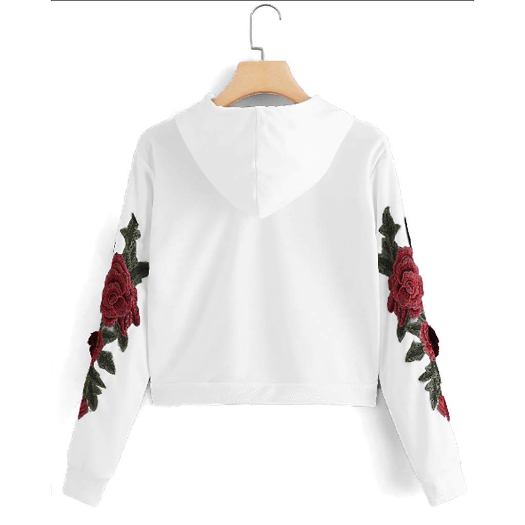 Autumn Sweatshirt for Women Long Sleeve Rose Applique Crop Top Drawstring Pullover Top Blouse T-Shirt (White,S) by TozuoyouZ