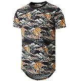 KLIEGOU Mens Hipster Hip Hop Ripped Round Hemline Camouflage T Shirt (05MC) (Medium, Black. Tiger)