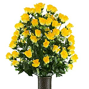 Yellow Sweetheart Rose Artificial Bouquet, featuring the Stay-In-The-Vase Design(c) Flower Holder (LG2167) 36