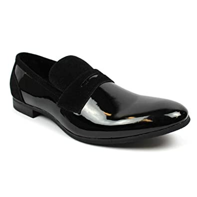 264b7a3f65e2 Tuxedo Black Suede Patent Leather Slip On Loafer Modern Bradley Dress Shoes  by Azar (6.5