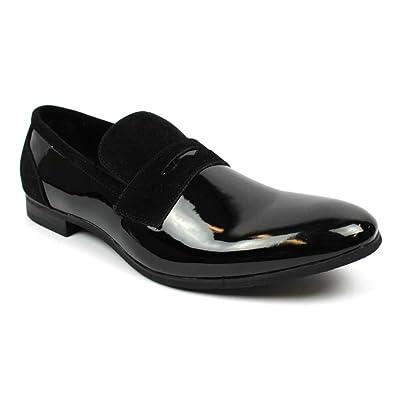24201e5ec2 Tuxedo Black Suede Patent Leather Slip On Loafer Modern Bradley Dress Shoes  by Azar (6.5