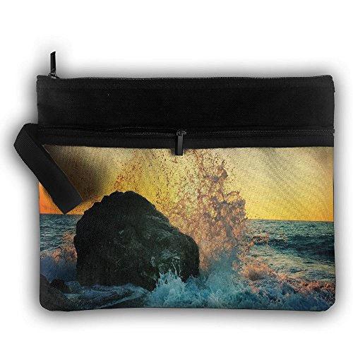 Surf Buggy (Ocean Wave Surf Rock Multifunction Storage Bag Buggy Bag Travel Cosmetic Bags Double Zipper Small Makeup Clutch Pouch Cosmetic And Toiletries Organizer Bag)