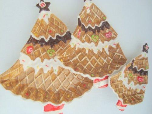 Hoff Interieuer Gebäckschalen Schalen für Gebäck & Plätzchen, Set von 3 bunten Gebäckschalen, Konfektschalen im fröhlichen Lebkuchen Tannenbaum Design
