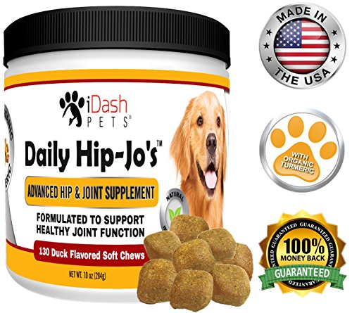 iDash Pets Glucosamine for Dogs, Daily Hip-Jos, Dog Arthritis Pain Relief, Hip Dysplasia, Advanced Hip and Joint Supplement for Dogs, Chondroitin, Turmeric, MSM for Dogs, Made in USA, 130 Soft Chews