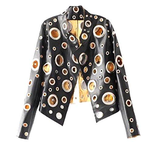 Metallic Holes Rocker Punk PU Leather Jacket Black S ()