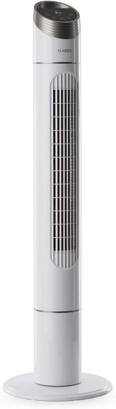 KLARSTEIN Sky High Modern Line - Ventilador Vertical, 3 Potencias, Oscilación de 75°, Potencia de 40 W, Capacidad de 276 m³/h, Temporizador, Panel táctil, Indicador de Temperatura, Blanco
