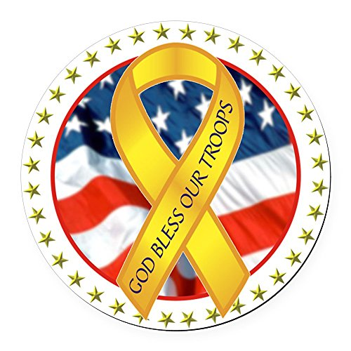CafePress - Bless Our Troops Ribbon - Round Car Magnet, Magnetic Bumper Sticker