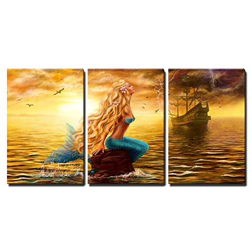 wall26 3 Piece Canvas Wall Art - Sea Mermaid Ghost Ship Sunset Background - Home Decor Ready to Hang - 24