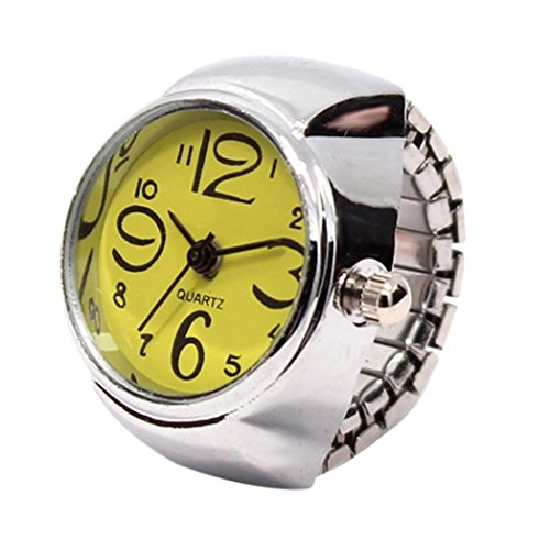 Fullfun Men Women Creative Steel Cool Elastic Quartz Finger Ring Watch (Yellow) from Fullfun