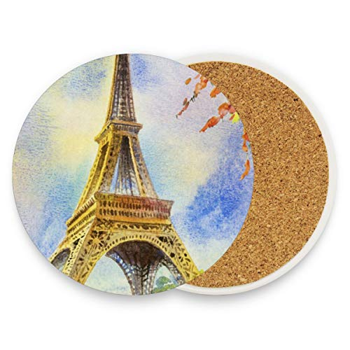 Eiffel Tower Painting Coasters, Protection For Granite, Glass, Soapstone, Sandstone, Marble, Stone Table - Perfect Drink Coasters,Round Cup Mat Pad For Home, Kitchen Or Bar Set Of -