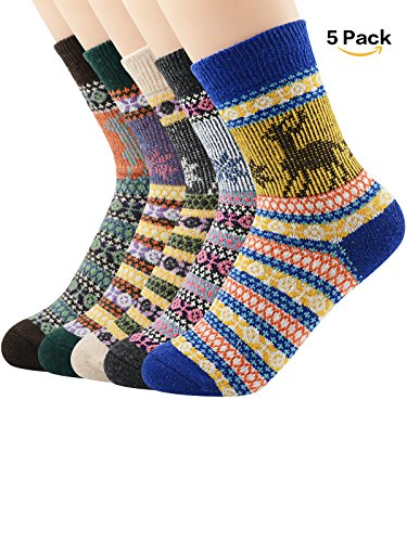 (Zando Athletic Retro Warm Soft Wool Crew Socks for Women Winter Autumn Cotton Knit Thick Print Cabin Socks 5 Pack 5 Pack - Printed Christmas Deer Shoe Size 6-11)