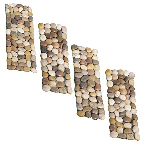 Collections Etc Outdoor Stone Landscape, Garden Border Path Mats - Set of 4