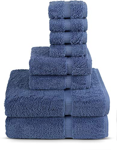 8 Piece Turkish Luxury Turkish Cotton Towel Set – Eco Friendly, 2 Bath Towels, 2 Hand Towels, 4 Wash Clothes by…