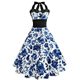 Pervobs Dress Big Promotion! Women Summer Sleeveless Vintage Printing Bow Bodycon Halter Evening Party Prom Swing Dress (L, White 2)