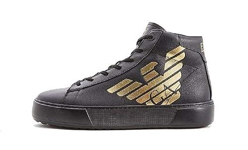 19ae8882b0796 Emporio Armani EA7 Scarpe Sneakers Alte Uomo in Pelle Nuove Nero   Amazon.it  Scarpe e borse