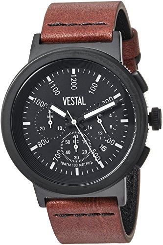 Vestal Quartz Stainless Steel and Leather Dress Watch, Color:Brown (Model: SLR44CL02.BRBK)