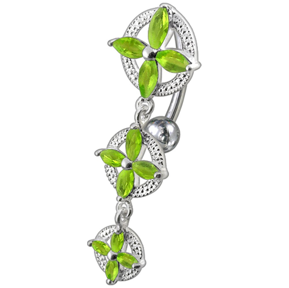 Peridot Green CZ Stone Triple Flower in Circle Reverse Bar Design 925 Sterling Silver Belly Button Piercing Ring Jewelry