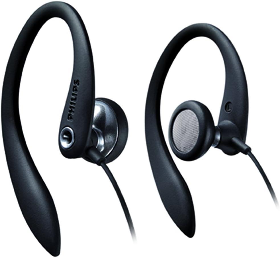 Philips SHS3200BK/37 Flexible Earhook Headphones, Black