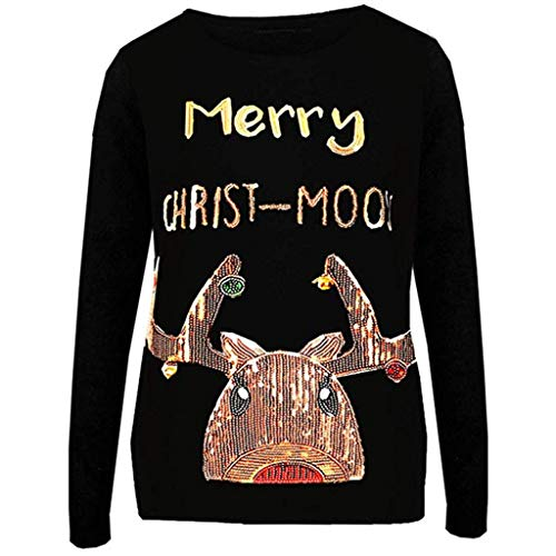 Mgk In A Suit (Womens Winter Casual Long Sleeve Christmas Sequin Festival Sweatshirt Tops Pullover T-Shirt Blouse)