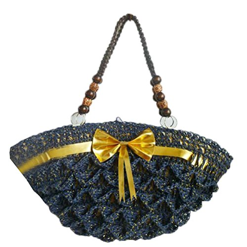 Donalworld Women Straw Woven Bag Crochet Crossbody Bag Blue