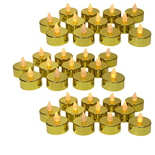 Gold LED Tea Light Candles - Set of 48 Flame Free Metallic Gold LED Candles with a Flickering Flame - 50th Wedding Anniversary - Gold Wedding Decorations - Christmas Decor]()