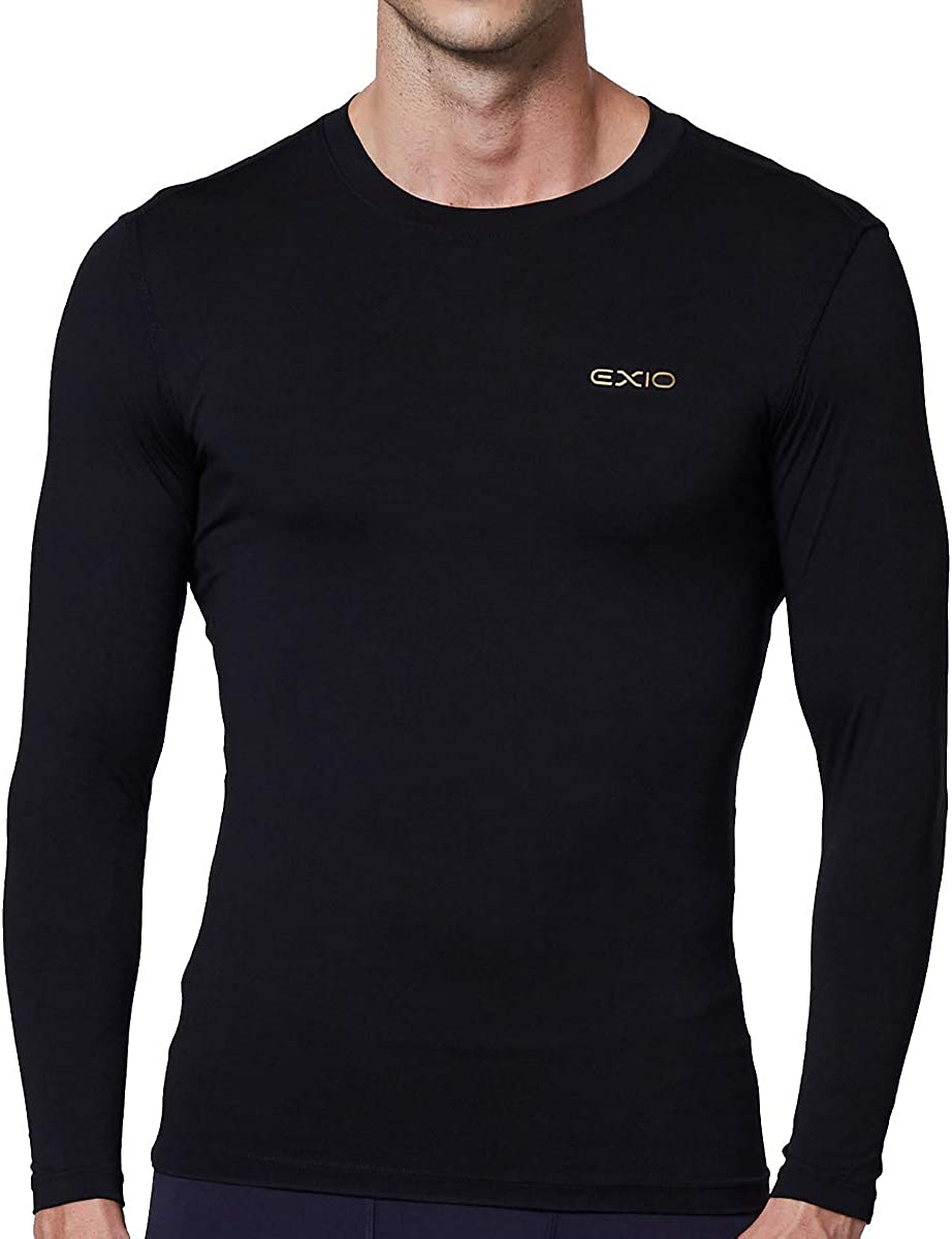 EXIO Mens Thermal Winter-Gear Compression Top Long-Sleeve Midweight Baselayer Underwear Shirt//Bottom